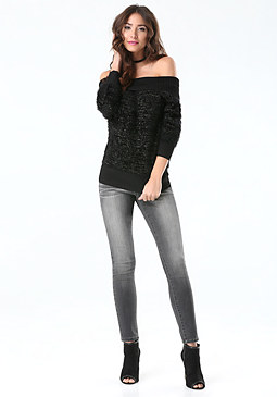bebe Metallic Eyelash Sweater