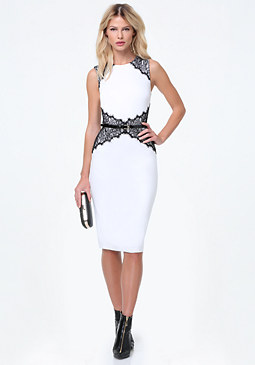 bebe Lace Corset Midi Dress