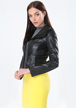 bebe Faux Leather Pintuck Jacket