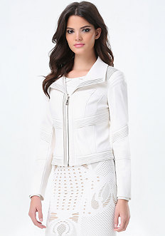 Faux Leather Pintuck Jacket