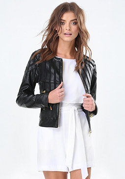 bebe Striped Mesh Jacket