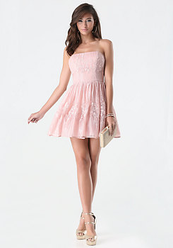 bebe Sequin Strapless Dress