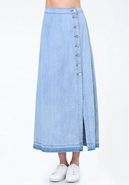bebe Denim Button Up Maxi Skirt