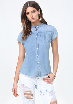 bebe Frayed Hem Denim Shirt