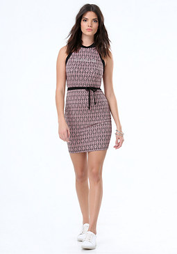bebe Logo Print Colorblock Dress