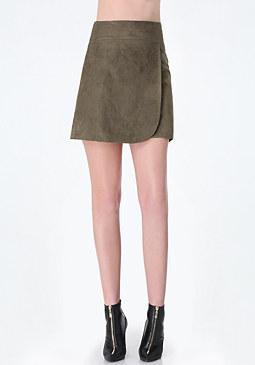 bebe Vera Faux Suede Wrap Skirt