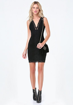 bebe Lace Deep V-Neck Dress
