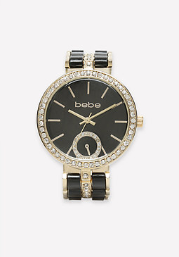 bebe Crystal & Enamel Watch