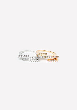 bebe Pave Staggered Bar Ring Set