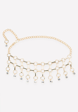 bebe Jeweled Circle Fringe Belt