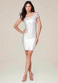 Brushed Foil Bandage Dress