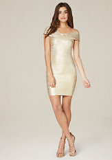 bebe Brushed Foil Bandage Dress