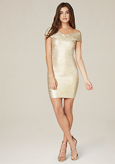 Brushed Foil Bandage Dress