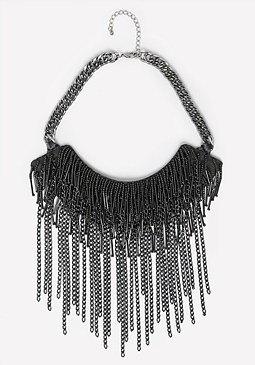 bebe Black Fringe Bib Necklace