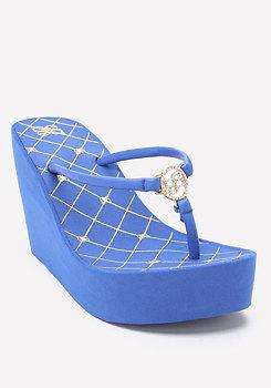 bebe Logo Glam High Flip Flops