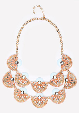 bebe Tiered Crystal Fan Necklace
