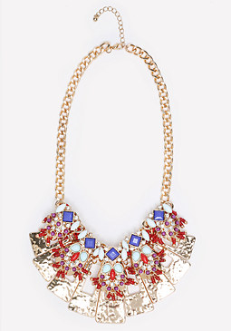 bebe Embellished Plates Necklace