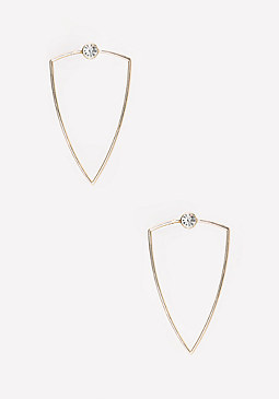 bebe Crystal Geo Metal Earrings