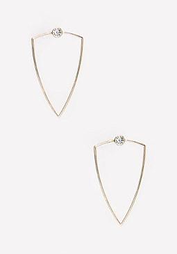 bebe Crystal Geo Metal Earrings