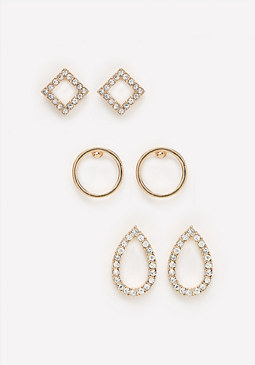 bebe Geo Stud Earring Set