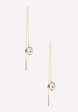 bebe CZ Pull Through Earrings