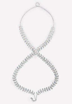 bebe Crystal Leaf Body Chain