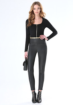 bebe Annie Ribbed Front Zip Top
