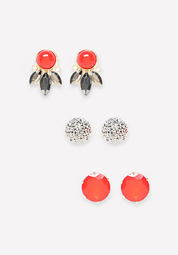bebe Petal & Crystal Earring Set