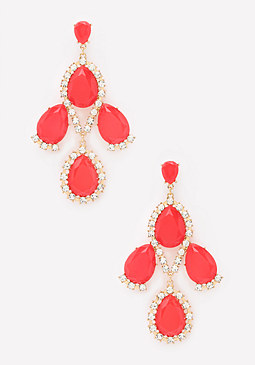 bebe Red Teardrop Stone Earrings
