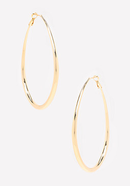 bebe Metal Oval Hoop Earrings