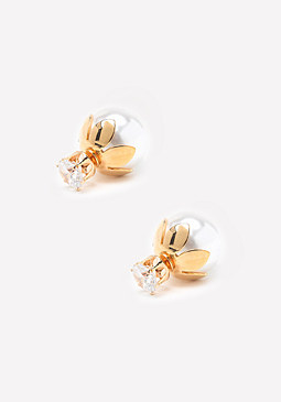 bebe Faux Pearl Zircon Earrings