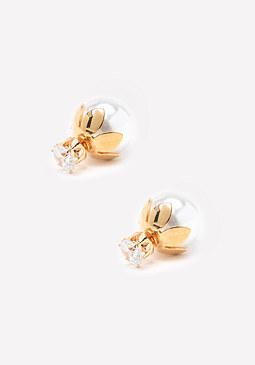 bebe Faux Pearl Zircon Earrings