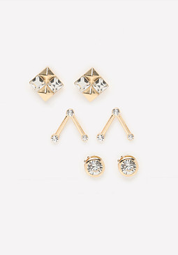 bebe Edgy Stud Earring Set