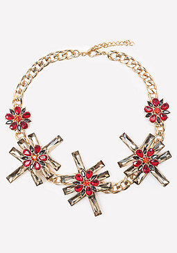 bebe Geo Floral Station Necklace