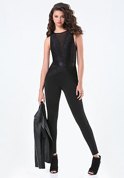 bebe Scallop Lace Panel Jumpsuit