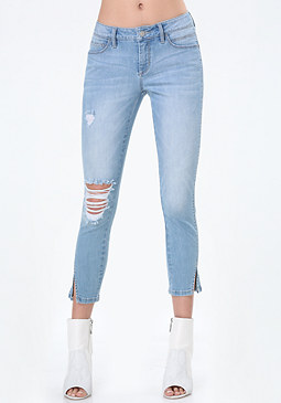 bebe Twisted Seam Crop Jeans