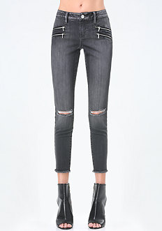4-Zip Frayed Crop Jeans