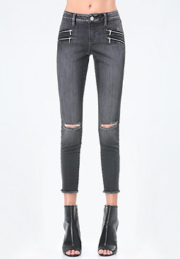 bebe 4-Zip Frayed Crop Jeans