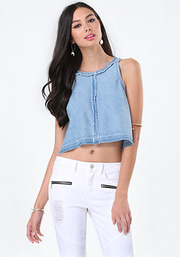 Denim Raw Hem Swing Top at bebe