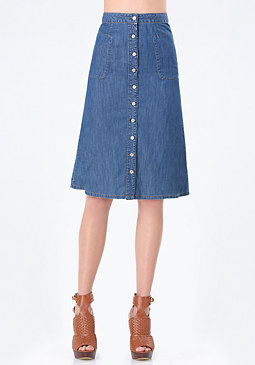 bebe Chambray Button Midi Skirt
