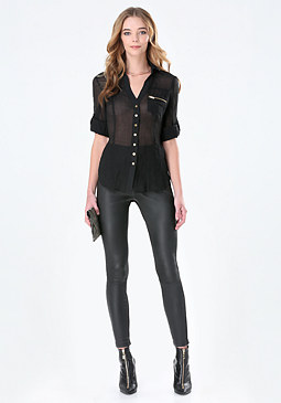 bebe Fiorella Zip Pocket Shirt
