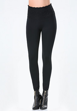 bebe Petite Lace High Leggings
