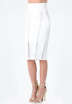bebe Petite Lattice Lace Skirt