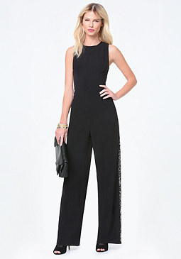 bebe Petite Lace Panel Jumpsuit