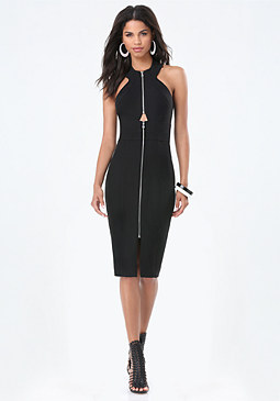 bebe Fitted Front Zip Dress