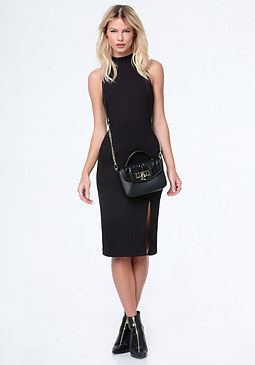 bebe Gigi Mock Neck Midi Dress
