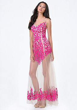 bebe Rosa Sequin Sheer Gown