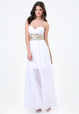 bebe Embellished Sweetheart Gown