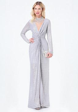 bebe Petite Sequin Twist Dress