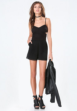bebe Mix Fabric Cutout Romper